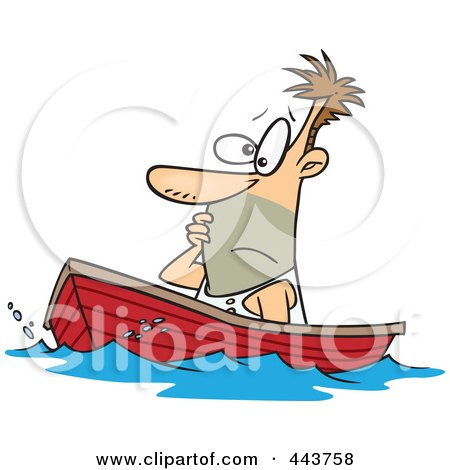 Royalty-Free (RF) Clip Art Illustration of a Cartoon Man Drifting In A Boat by toonaday