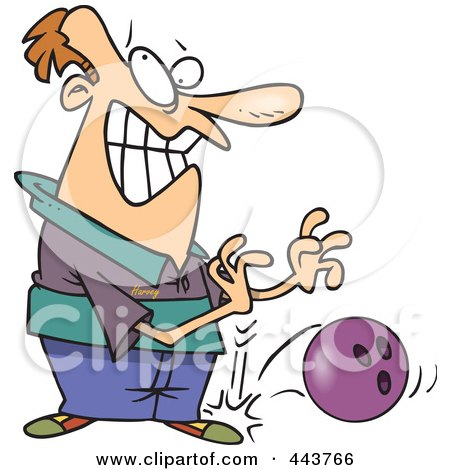 Royalty-Free (RF) Clip Art Illustration of a Cartoon Man Dropping A Bowling Ball On His Foot by toonaday