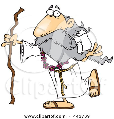 Royalty-Free (RF) Clip Art Illustration of a Cartoon Druid Man Carrying A Stick by toonaday