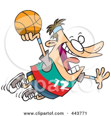 Royalty-Free (RF) Clip Art Illustration of a Cartoon Man Making A Slam Dunk by toonaday