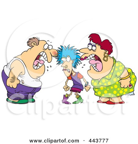 Royalty-Free (RF) Clip Art Illustration of a Cartoon Dysfunctional Family Fighting by toonaday