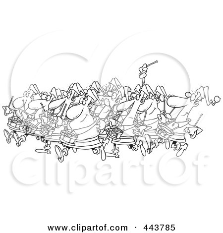Royalty-Free (RF) Clip Art Illustration of a Cartoon Black And White Outline Design Of Drummers Drumming by toonaday