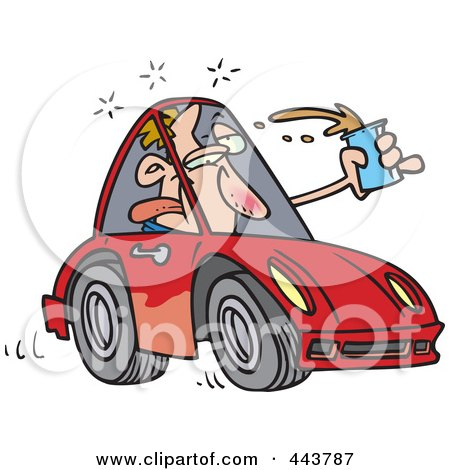 Royalty-Free (RF) Clip Art Illustration of a Cartoon Drunk Driver by toonaday