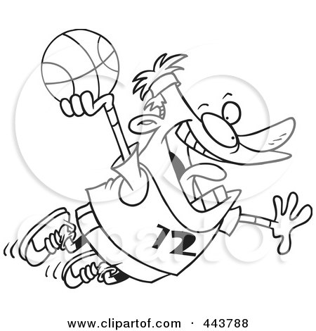 Royalty-Free (RF) Clip Art Illustration of a Cartoon Black And White Outline Design Of A Man Making A Slam Dunk by toonaday