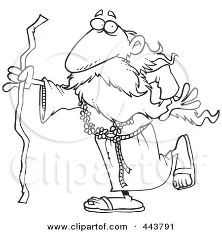 Royalty-Free (RF) Clip Art Illustration of a Cartoon Black And White Outline Design Of A Druid Man Carrying A Stick by toonaday