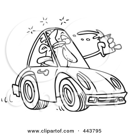 Royalty-Free (RF) Clip Art Illustration of a Cartoon Black And White Outline Design Of A Drunk Driver by toonaday