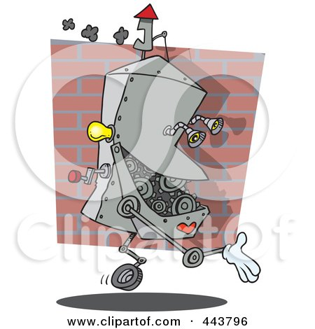 Royalty-Free (RF) Clip Art Illustration of a Cartoon Factory Robot by toonaday