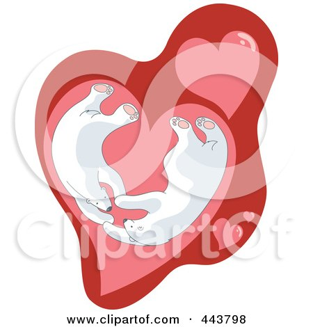 Royalty-Free (RF) Clip Art Illustration of Valentine Polar Bears In A Heart by Alexia Lougiaki