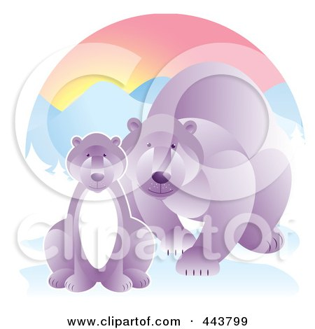 Royalty-Free (RF) Clip Art Illustration of a Mother Polar Bear By Her Cub In The Snow by Alexia Lougiaki