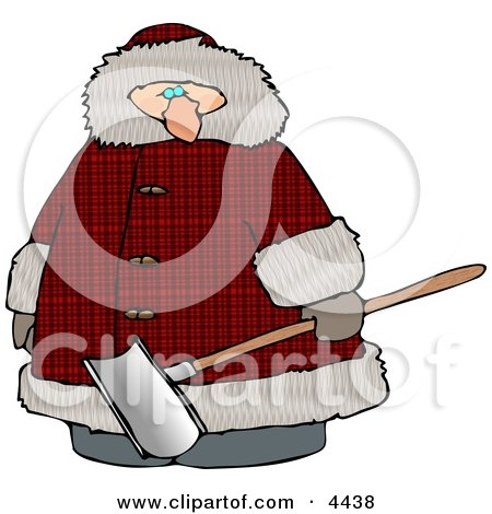 Clipart of a overweight man wearing a big winter coat and holding a snow