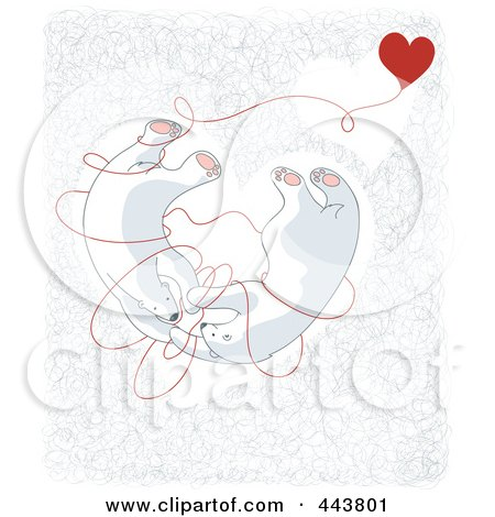 Royalty-Free (RF) Clip Art Illustration of Valentine Polar Bears Tangled In Love In A Heart by Alexia Lougiaki