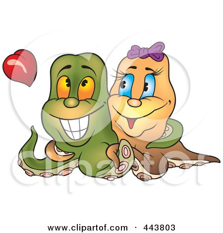 Royalty-Free (RF) Clip Art Illustration of an Octopus Pair In Love by dero