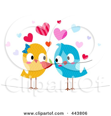 Royalty-Free (RF) Clip Art Illustration of a Romantic Love Bird Giving His Mate A Flower by BNP Design Studio