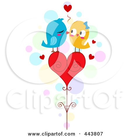 Love Birds Kissing On A Heart Posters, Art Prints