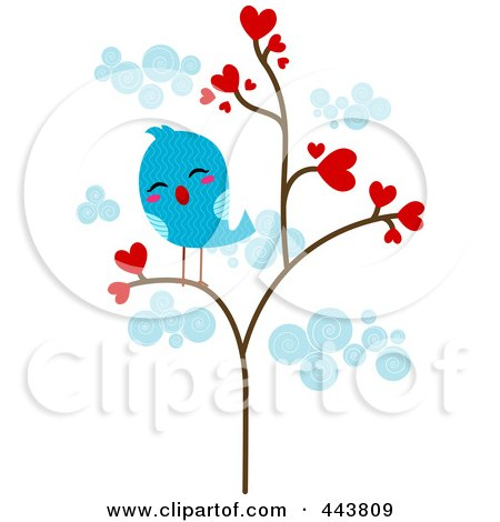 Royalty-Free (RF) Clip Art Illustration of a Lonely Love Bird In A Heart Tree by BNP Design Studio
