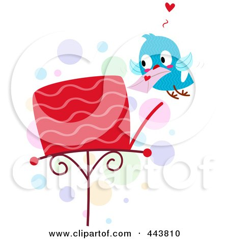 Royalty-Free (RF) Clip Art Illustration of a Love Bird Putting A Letter In A Mailbox by BNP Design Studio