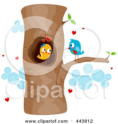 Courting Love Birds In A Tree Posters, Art Prints