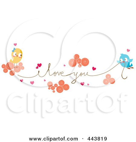 Royalty-Free (RF) Clip Art Illustration of Love Birds Carrying An I Love You String by BNP Design Studio