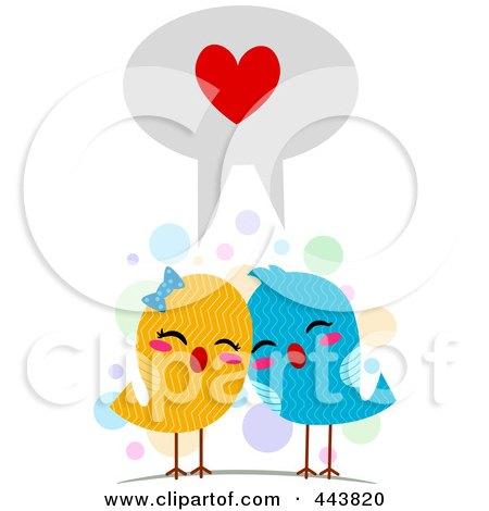 Royalty-Free (RF) Clip Art Illustration of Love Birds Speaking The Language Of Love by BNP Design Studio