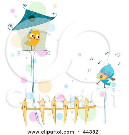 Royalty-Free (RF) Clip Art Illustration of a Love Bird Serenading His Love by BNP Design Studio
