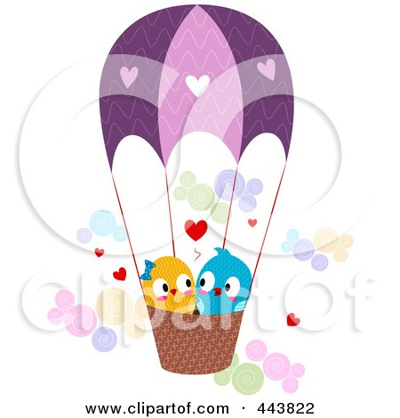 Royalty-Free (RF) Clip Art Illustration of Love Birds In A Hot Air Balloon by BNP Design Studio