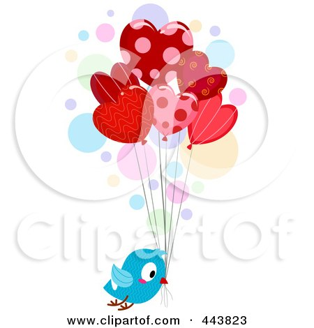Royalty-Free (RF) Clip Art Illustration of a Love Bird Delivering Heart Balloons by BNP Design Studio