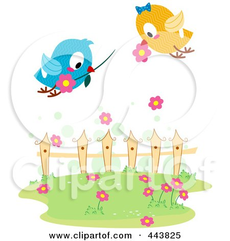 Royalty-Free (RF) Clip Art Illustration of Love Birds Exchanging Flowers by BNP Design Studio