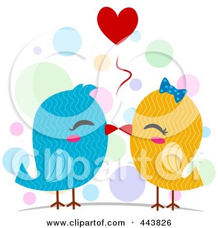 Royalty-Free (RF) Clip Art Illustration of Kissing Love Birds by BNP Design Studio