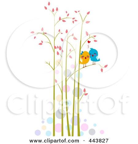 Royalty-Free (RF) Clip Art Illustration of Love Birds In Tall Trees by BNP Design Studio