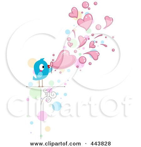 Royalty-Free (RF) Clip Art Illustration of a Love Bird Blowing Heart Bubbles by BNP Design Studio