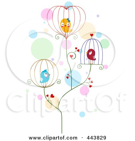 Royalty-Free (RF) Clip Art Illustration of Love Birds In Wire Cages by BNP Design Studio