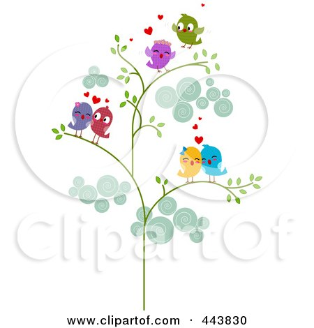 Royalty-Free (RF) Clip Art Illustration of Love Bird Couples In A Tree by BNP Design Studio