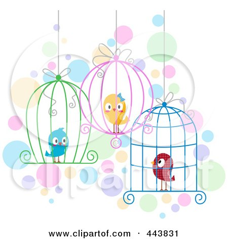 Royalty-Free (RF) Clip Art Illustration of Love Birds In Different Cages by BNP Design Studio