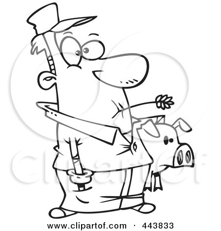 Royalty-Free (RF) Clip Art Illustration of a Cartoon Black And White Outline Design Of A Farmer Holding His Pig by toonaday