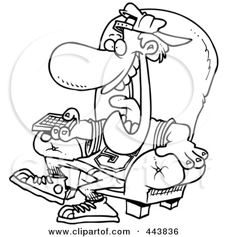 tv remote clipart. cartoon black and white outline design of a sports fan holding tv remote clipart