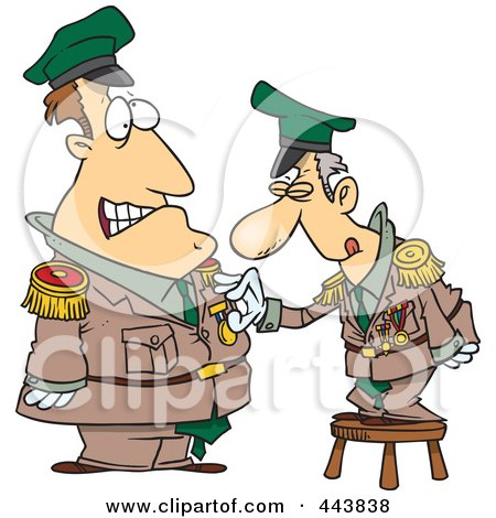 Cartoon Man Standing On A Stool And Awarding A Medal To A Soldier Posters, Art Prints