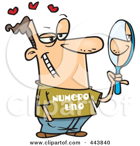 Royalty-Free (RF) Clip Art Illustration of a Cartoon Vain Man Staring At His Reflection In A Mirror by toonaday