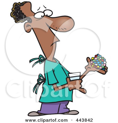 Royalty-Free (RF) Clip Art Illustration of a Cartoon Man Carrying Medications by toonaday