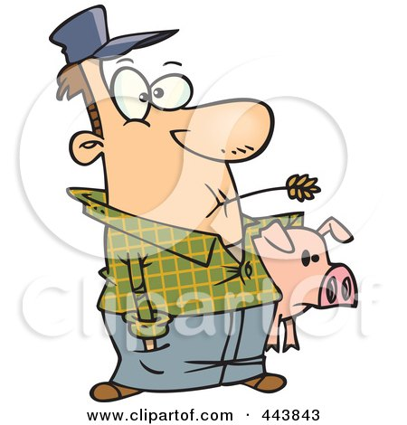 Royalty-Free (RF) Clip Art Illustration of a Cartoon Farmer Holding His Pig by toonaday