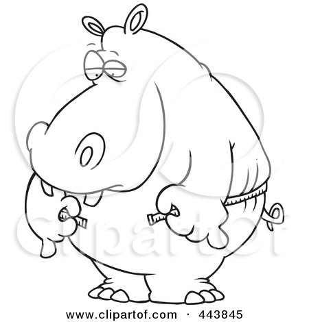 Royalty-Free (RF) Clip Art Illustration of a Cartoon Black And White Outline Design Of A Big Hippo Measuring His Waist With A Short Tape by toonaday