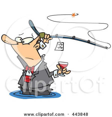 Royalty-Free (RF) Clip Art Illustration of a Cartoon Man Fancy Fishing With Wine by toonaday