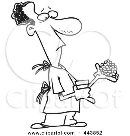 Royalty-Free (RF) Clip Art Illustration of a Cartoon Black And White Outline Design Of A Man Carrying Medications by toonaday