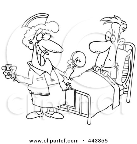 Royalty-Free (RF) Clip Art Illustration of a Cartoon Black And White Outline Design Of A Nurse Giving A Patient Medication by toonaday