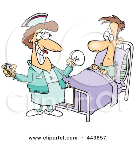 Royalty-Free (RF) Clip Art Illustration of a Cartoon Nurse Giving A Patient Medication by toonaday
