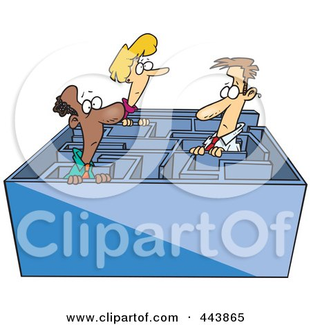 Royalty-Free (RF) Clip Art Illustration of Cartoon Business Men And A Woman In A Maze by Ron Leishman