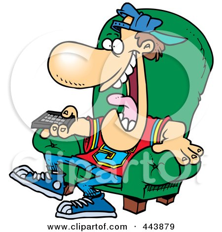 tv remote clipart. cartoon sports fan holding a tv remote by toonaday clipart