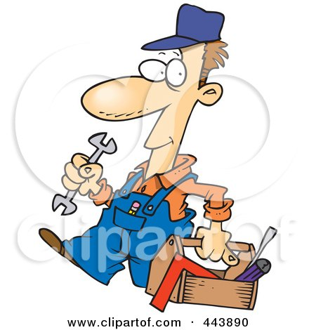 Royalty-Free (RF) Clip Art Illustration of a Cartoon Repair Man Carrying A Tool Box by toonaday