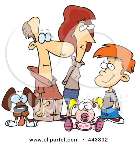 Royalty-Free (RF) Clip Art Illustration of a Cartoon Pleasant Family by toonaday