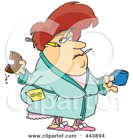 Royalty-Free (RF) Clip Art Illustration of a Cartoon Fat Woman Eating A Donut And Failing At Her Resolution by toonaday