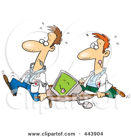 Royalty-Free (RF) Clip Art Illustration of Cartoon Medics Carrying A Computer On A Gurney by toonaday